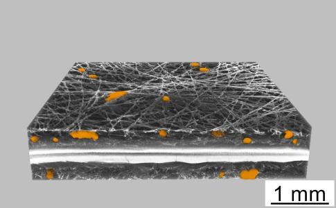 Die Leistung einer Brennstoffzelle wird maßgeblich von der Membran-Elektroden-Einheit beeinflusst. Tritt zum Beispiel Phosphorsäure aus der Membranstruktur in die beidseitig flankierenden porösen graphitischen Gasdiffusionslagen, verringert sich die Leitfähigkeit und damit die Effizienz des Gesamtsystems. Der Elektrolytaustritt lässt sich mittels hochaufgelöster Röntgen-Computertomographie (Mikro-CT) darstellen.