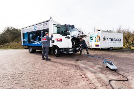 Der ORTEN E 75 TL im Testeinsatz auf der Insel Borkum bei der Firma OGV Ost-Friesischer Getränkevertrieb GmbH