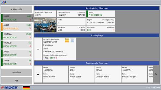 Intuitive Bedienoberfläche des neuen MES-Shopfloor-Terminals AIP 8.2 von MPDV