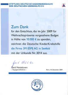 3M ESPE - Spende für krebskranke Kinder anstatt Weihnachts-geschenke., Foto: 3M