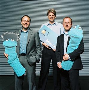 Die blau.de-Gründer Martin Ostermayer, Thorsten Rehling und Dirk Freise