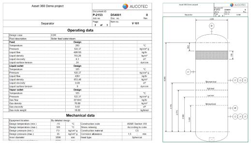 The new data sheets automatically merge all information about an asset, including accessories and sub-systems. (Picture (combines 2 sheet sections): AUCOTEC AG)