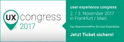 user experience congress am 2. und 3.11.2017 in Frankfurt am Main