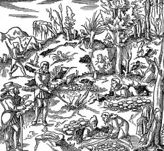 Figure 1: Ore prospecting after Agricola (1556): De re metallica libri XII