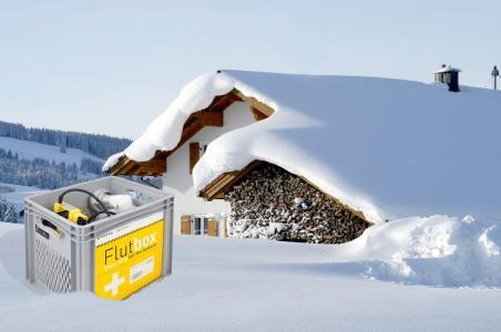 Wenn der Schnee schmilzt und das Wasser kommt,  sorgt die Flutbox für Sicherheit im Untergeschoss, Bild: Fotolia  # 20477209, Z Fotografie