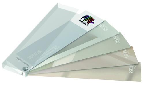 Der WEISS Fächer steht ab sofort im Format (B x H) ca. 5 x 21 cm mit 25 Seiten, unter der Best.-Nr. 876710 zur Verfügung, Preis: 5 Euro inkl. MwSt. (Foto: Caparol Farben Lacke Bautenschutz)