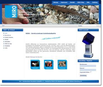 www.bv-miro.org für den Bundesverband Mineralische Rohstoffe e. V. ist die neuste gestalterische Arbeit des PRAXIS-Kreativ-Teams