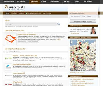 Open Source Marktplatz Screenshot Startseite