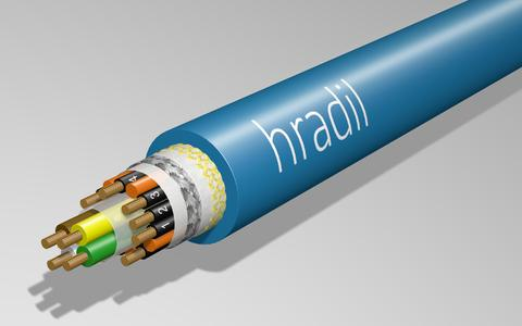 Longitudinal view of Hradil CAN bus cable for moving applications under extreme temperature conditions