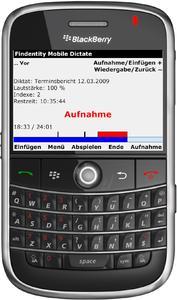 BlackBerry-Smartphone mit Diktiersoftware von Thax.