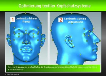 Mehr als 40 Messpunkte pro Kopf liefern die Grundlage, um charakteristische Maße für besser sitzende Helme konsistent messen zu können. ©Hohenstein Institute