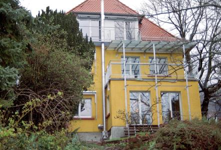 An der Rückseite des Hauses wurde die Abgasabführung für den Holzpellet-Wohnraumofen elegant mit einem Edelstahlkamin gelöst, der an der Außenwand montiert ist.