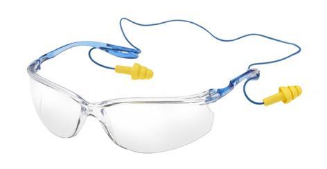 Augen- und Gehörschutz in einem: mit der 3M Tora CCS Schutzbrille. Bild: 3M