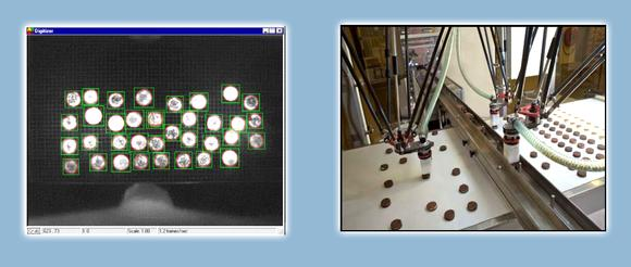 Vision-guided robots is quite common. The camera acquires an image, and software processes the image. In this cookie sorting application, the robots place different shaped cookies into a blister tray for packaging. The imaging software will help determine the correct shape of the cookie, index it so as not to overfill the tray, and send coordinate information to the robot