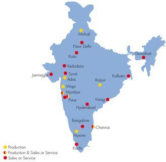 Freudenberg-Standorte in Indien