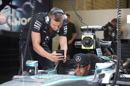 Lewis Hamiltons F1 W06 Hybrid-Rennwagen gekühlt mit ebm-papst Ventilatoren