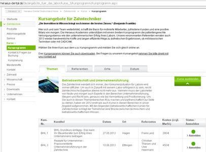 Heraeus Kulzer macht die Online-Suche und Anmeldung für die passende Weiterbildung jetzt ganz einfach.