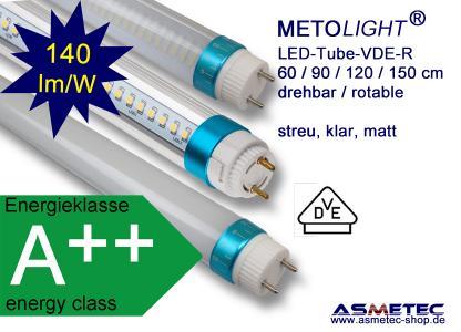 METOLIGHT LED VDE Röhren lieferbar in den Baulängen 150/120/90/60 cm und in den Lichtfarben 3000K/4000K/5000K/6000K mit matter oder klarer Hülle