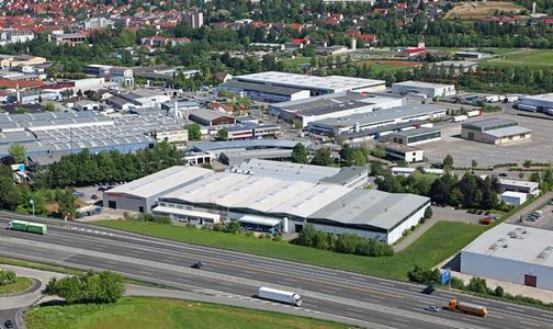 Im Vordergrund das heutige Firmengelände der Gebhardt Fördertechnik in Sinsheim © Pittorf