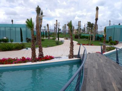 The wooden bridge, also curved, leads the visitor onto the island in the middle of the pool, Photo: ZinCo