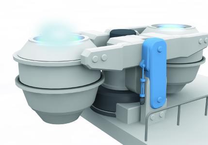 Applikation:  Steuerung der Gießpfannenbewegungen in einer Stranggießanlage.