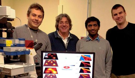 Dr. Claudio Canale, Prof. Alberto Diaspro, Jenu Chacko-Varghese und Dr. Benjamin Harke – Abteilung Nanophysik (IIT), Genova