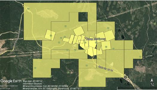 Map showing Ximen land package in McKinney Gold Camp