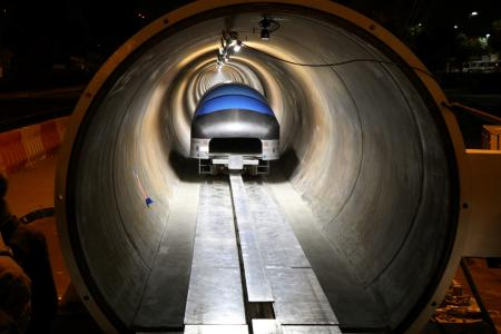 C 0: The Hyperloop travelling into a SpaceX tube during a test.