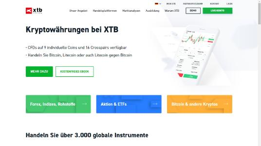 XTB Homepage Screenshot