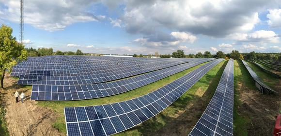 View of 1.6 MW solar park in Brandenburg