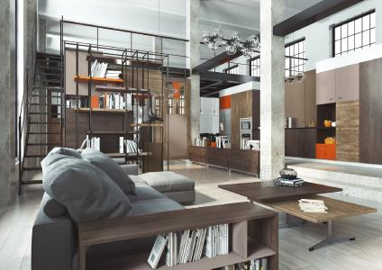 A loft flat in Industrial Style – implemented with furniture décors from the ONE WORLD COLLECTION (photograph: SWISS KRONO)