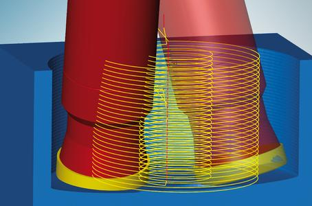 5axis helical drilling: The tool plunges into the material quickly and efficiently. Image source: OPEN MIND