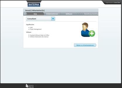 Ein neuer Mitarbeiter erhält die entsprechenden Berechtigungen und kann sie im Web-Shop beantragen
