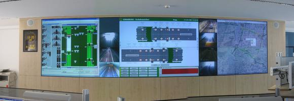 eyevis video wall in a traffic control room
