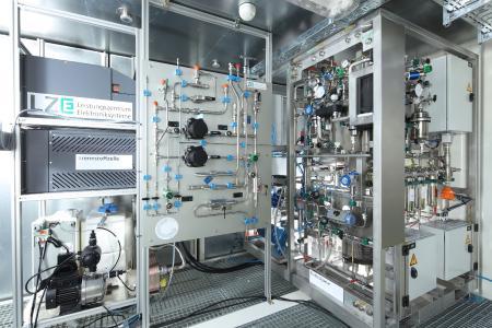 Das Innere des neuartigen Containers ermöglicht die effiziente Verstromung und Produktion von Wasserstoff.