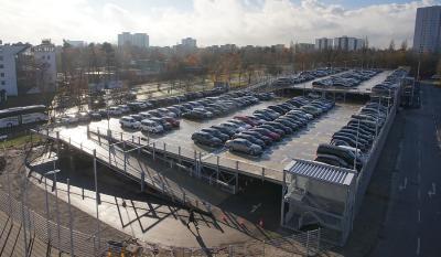 Produktinnovation in der praktischen Anwendung: Ein Preflex® Parkhaus mit 800 Stellplätzen – errichtet in nur 12 Wochen Montagezeit. (Foto: C + P)