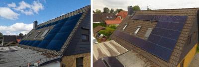 05 Links, Planung der PV mit Bildvorlage. Rechts, die fertig installierte Photovoltaik ©privat/Powertrust / Herausgeber: Powertrust GmbH aus Bremen
