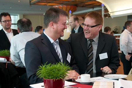 Gute Stimmung auf der acmeo Partnerkonferenz 2012 (von links nach rechts: Jürgen Gut, Karsten Agten, IT-On.NET GmbH)