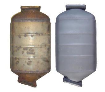 Professionell gereinigte Rußpartikelfilter im Vergleich vorher / nachher