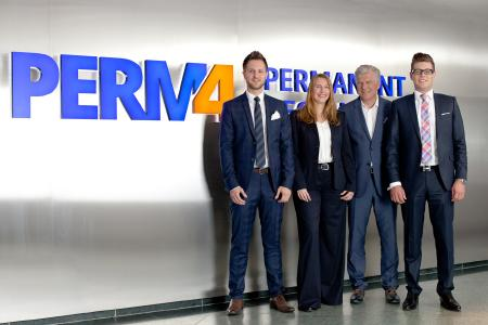 Geschäftsführung der PERM4 | (v.l.: Sebastian Gutbrod, Anne Gründling, Roland Buchmann, Mario Buchmann)