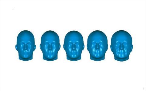 Innerhalb einer Kopfgröße (beispielhaft Größe 58) können Kopftypen sehr unterschiedlich ausfallen: von hoch und schmal (links) bis rund (rechts). ©Hohenstein Institute