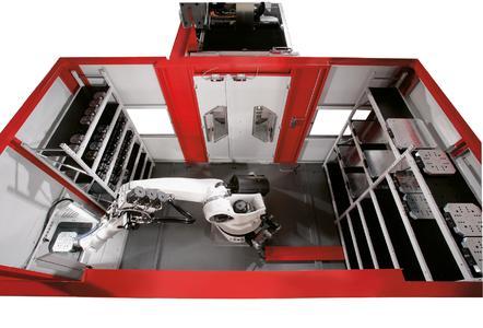 Robotersystem RS 2, der Roboter holt eine Palette vom Rüstplatz