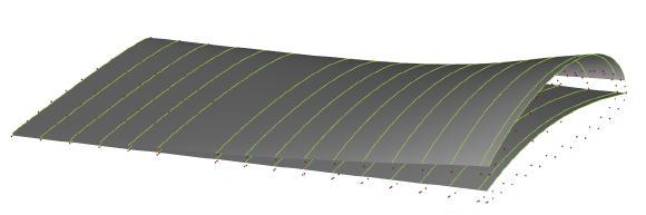 Importierte Propellerdaten aus einer bestehenden PFF-Datei und die daraus resultierenden Mittellinien- und Dickenverteilungen (interpoliert durch NURBS-Oberflächen) bei normierter Akkordlänge