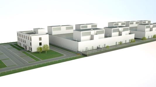 Modellbild vom neuen Rechenzentrum von noris network im Osten von München (Aschheim) / Bildquelle: noris network