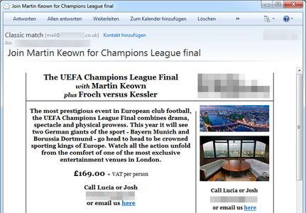 G Data: Beispiel einer Spam-Mail zum UEFA Champions League Finale