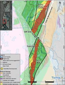 Figure 1 – Location of relogged and sampled drill holes on the North Giant Extension within the Barney Deformation Corridor (BDC) on TerraX's property. The relogged core area is shown as an extension of the GKP mine, which is the faulted extension of the Supercrest deposit, which was the highest grade gold deposit from the Giant Mine