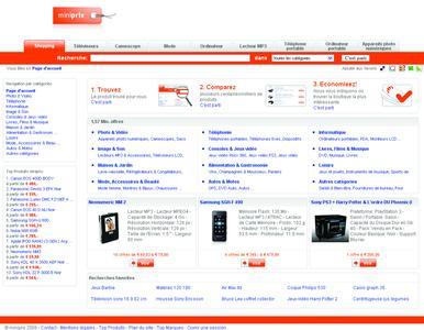 Screen Startseite Preisvergleich www.miniprix.fr in Frankreich