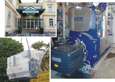 Left: The historic private clinic building and moving of the boiler into the building; right: the installed system after commissioning