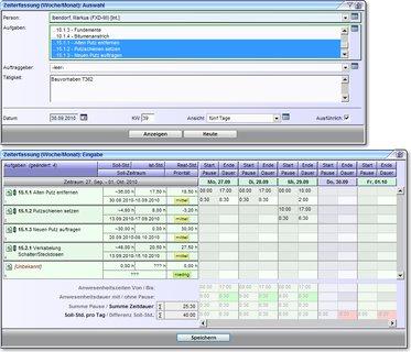 Zeiterfassung - über maximal ein Monat für alle zugeordneten Aufgaben