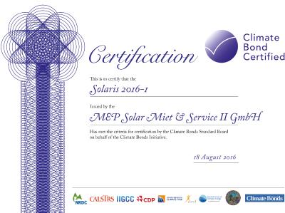 "Climate Bond Standards Board verleiht erstem MEP Green Bond den Status ""Climate Bond Certified"""